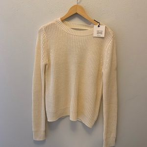 NEW WITH TAGS IVORY KNIT OPEN BACK SWEATER